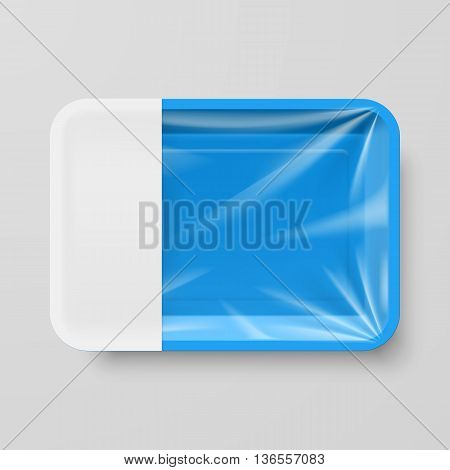 Empty Blue Plastic Food Container with Empty Label on Gray
