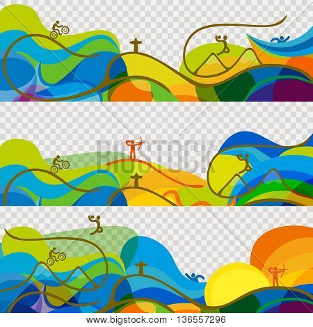Banners set Olympic games 2016 wallpaper. Rio 2016 abstract colorful background. Summer Sport Brazil background. Vector template for backgrounds cards web and journals. Athletes icon.