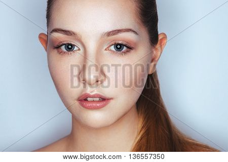 Glamour Close Up Portrait Of Young Beautiful Woman Model With Trendy Makeup. Fashion Shiny Highlight