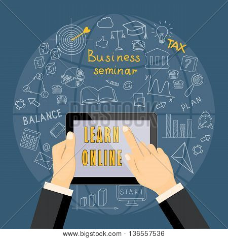 Flat modern design vector illustration concept of business online education e-learning with hands tablet and hand drawn symbols. eps 10