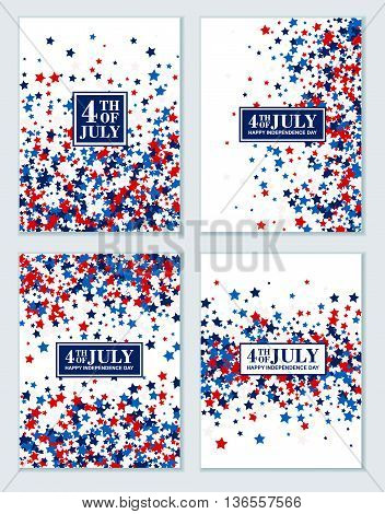 4th of July background set of stars in traditional American colors - red, white, blue.