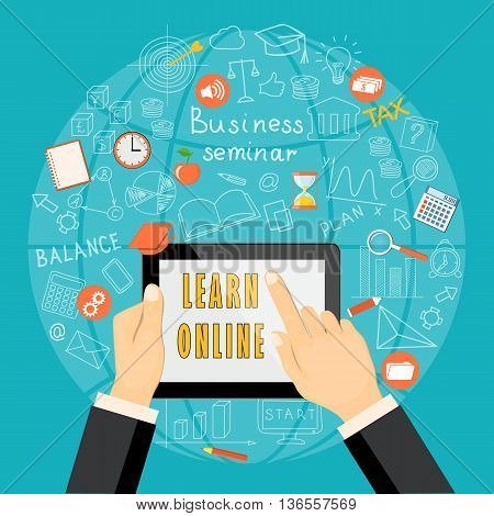 Flat modern design vector illustration concept of business online education e-learning with tablet hands colored icons and hand drawn symbols. eps 10