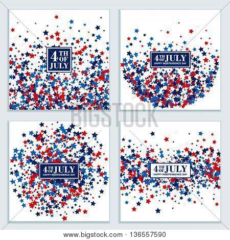 4th of July stars background set in traditional American colors - red, white, blue.