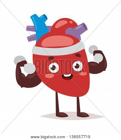 Happy strong heart cartoon mascot character showing muscle arms vector illustration. Strong heart isolated on white. Exercise strong heart healthy lifestyle character power athletic symbol.