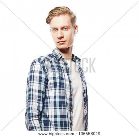 Casual portrait of happy university student guy