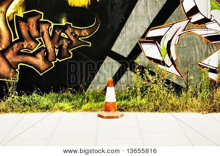 Traffic cone abstract graffiti
