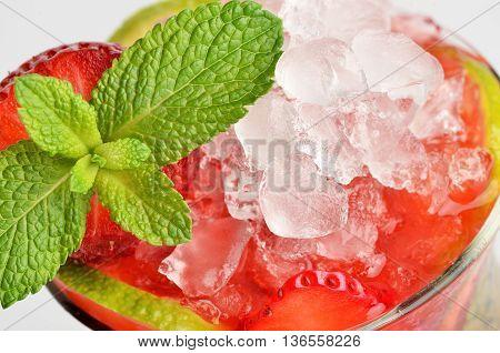 Fresh Cold Strawberry Mojito Coctail close up