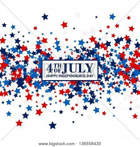 4th of July festive banner with scatter stars in traditional American colors - red, white, blue. Isolated.