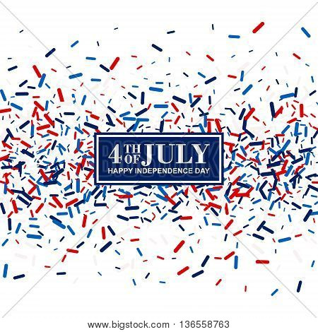 4th of July greeting card in traditional American colors - red, white, blue.