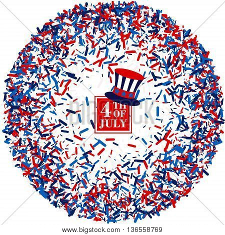 4th of July festive greeting card with top hat in wreath of scatter sawdust in traditional American colors - red, white, blue. Isolated.