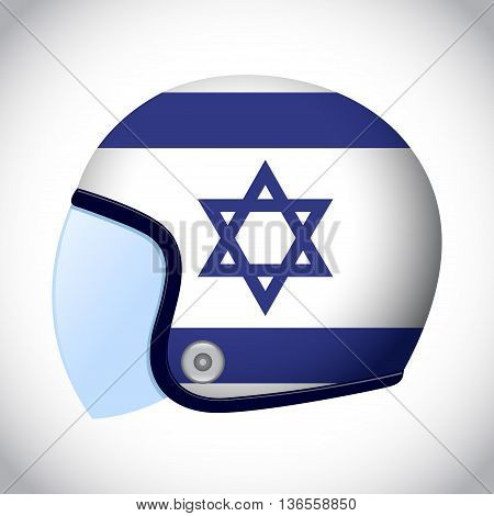 Vector stock of retro classic motorcycle helmet with Israel flag