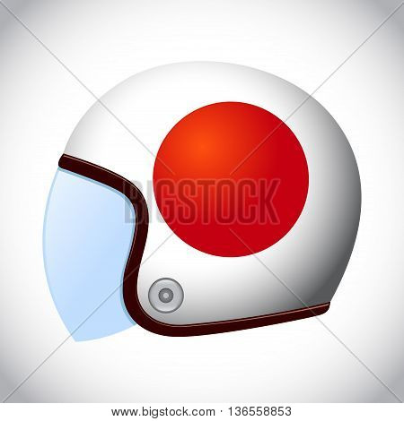 Vector stock of retro classic motorcycle helmet with Japan flag