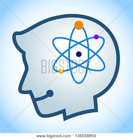 Vector stock of human head silhouette with energy atom symbol inside