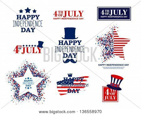 4th of July set of nine greeting card elements in traditional American colors - red, white, blue.