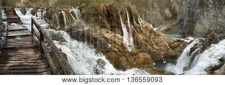 Plitvice National Park hiking trail in Croatia.