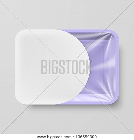 Empty Purple Plastic Food Container with White Label on Gray