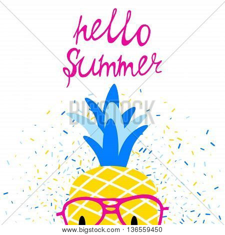 Vector bright summer poster with pineapple in glasses and lettering.