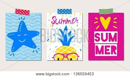 Set of vector bright summer cards with starfish, pineapple, and hand written text.