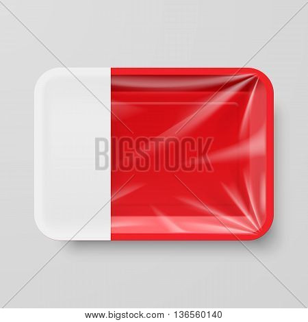Empty Red Plastic Food Container with Empty Label on Gray