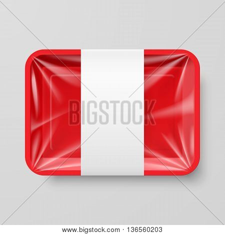Empty Red Plastic Food Container with Label on Gray Background