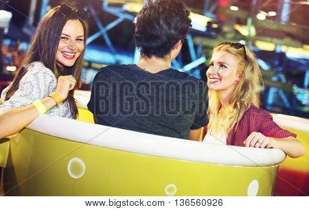 Friends Huddle Happiness Amusement Park Festival Concept
