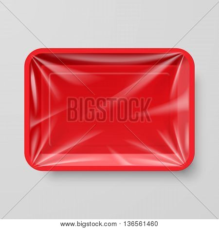 Empty Red Plastic Food Container on Gray