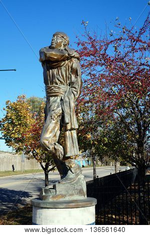 JOLIET, ILLINOIS / UNITED STATES - NOVEMBER 1, 2015: The sculpture