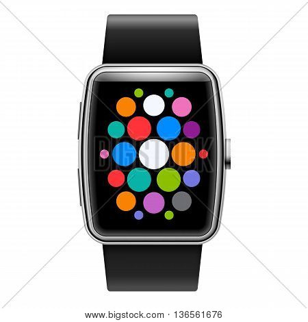 Wearables Technology Device Smart Watch with Color Apps Icons