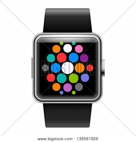 Wearables Technology Device Smart Watch with Apps on White