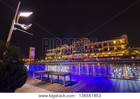 MALACCA MALAYSIA - March 7 2016: Beautiful night view at Malacca riverside the capital city of the Malaysian state of Malacca. It was listed as a UNESCO World Heritage Site on 7 July 2008