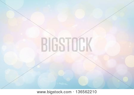 Colorful bokeh in soft color style for background of Christmas light