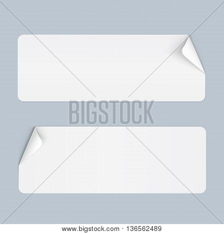 Illustration of Two Stickers with Bended Coner on Blue
