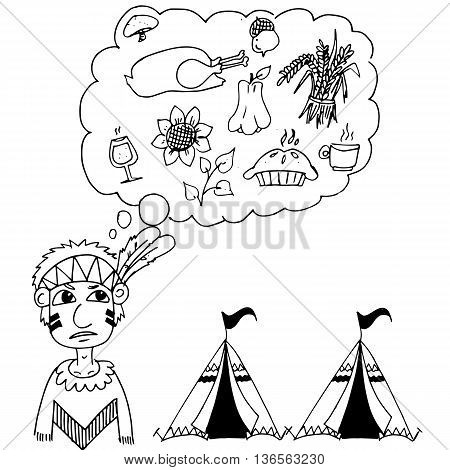 Hand Draw Thanksgiving doodle on white background