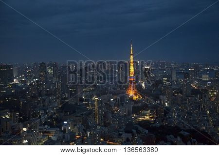 Tokyo skyline during the blue hour