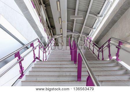 Bangkok Thailand - June 18 2016: Staircase bring passengers to platform waiting for the next train at BTS Bang Wa station.
