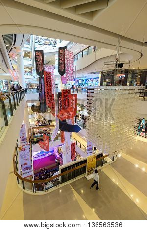 Bangkok Thailand - June 25 2016: CentralPlaza Rama 9 the most recent addition of CentralPlaza brand in Bangkok sits amidst the bustling intersection of Rama9