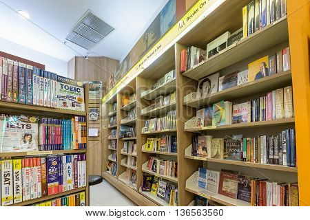 Bangkok Thailand - June 25 2016: Inside of Asia Books in CentralPlaza Rama 9 The biggest international online bookstore in Thailand.