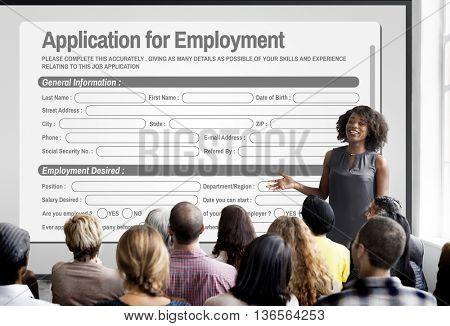 Application For Employment Form Job Concept