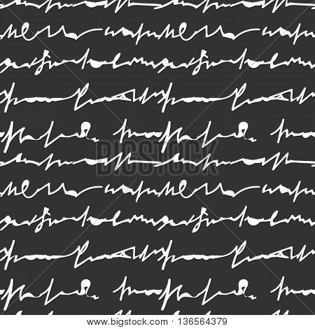 Hand Drawn Letter On Black Background Seamless Pattern Vector