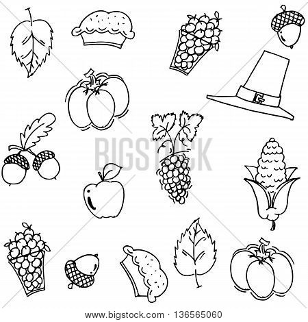 Thanksgiving fruit and vegetable doodle vector art