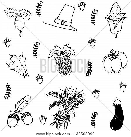 Vegetable in doodle Thanksgiving on white backgrounds