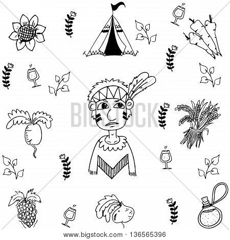 Doodle of Thanksgiving vegetable vector art illustration