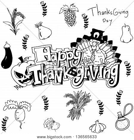 Hand draw thanksgiving vegetable in doodle illustration