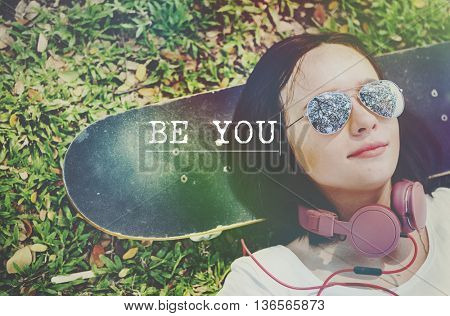 Be Yourself Self Esteem Confidence Optimistic Concept