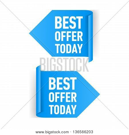 Two Blue Arrow Paper Stickers on White Background