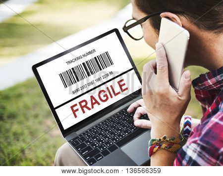 Fragile Browsing Barcode Online Concept