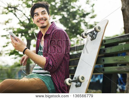 Skateboarder Lifestyle Relaxation Active Athletic Concept