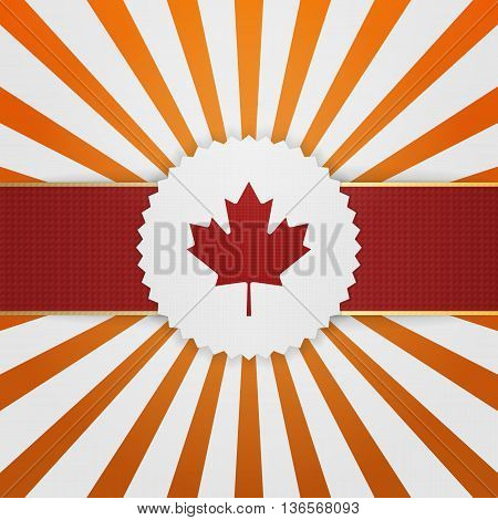 Canada paper Emblem with red Ribbon. Vector Illustration
