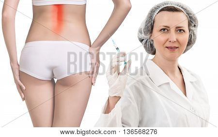 Woman with painful back stands nead doctor with syringe isolated on white background