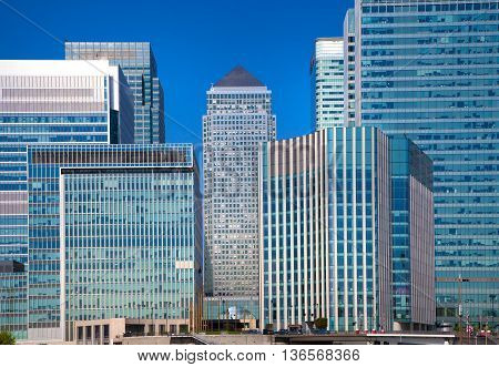 London UK- May 21, 2015: Office buildings of Canary Wharf, international business and banking aria. View from the dock